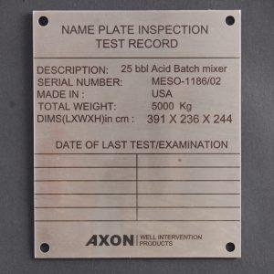 laser marking nameplate label